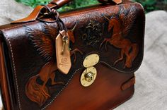 "Leather Briefcase  ""Tulpars"" tooled and carved with hand stitching by KazakhshaStyle on Etsy"