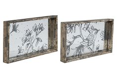 Adorable serving trays in a weathered finish and a natural scene!