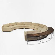 Milo Baughman sectional sofa and table