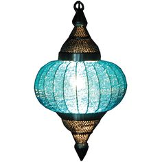 turquoise beaded pendant lantern, love the style and color.