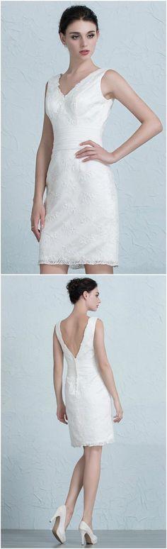 Elegant Tight Short Wedding Dresses Reception Modest Lace Style ...