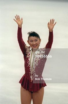 Sport. 1992 Winter Olympic Games. Albertville, France. Ice Skating. Womens Figure (Free) Skating. Midori Ito, Japan, the Silver medal winner...
