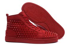 Christian Louboutin Louis Spikes Mens Flat Suede Hight Top Sneakers Red Poppy…