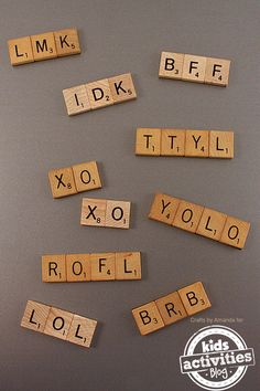 Scrabble Tile Craft ~ Acronym Magnets This is precious! Upcycle old Scrabble game tiles into these awesome acronym magnets – what a fun gift! Scrabble Letter Crafts, Scrabble Ornaments, Scrabble Wall Art, Scrabble Tiles, Scrabble Image, Scrabble Coasters, Wood Coasters, Crafts To Sell, Fun Crafts
