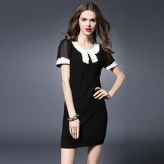 Barato Das mulheres do Vintage elegante magro cabido preto branco vestido XL 5XL, Compro Qualidade Vestidos diretamente de fornecedores da China:                 Elegante vestido feito à medida em enrugada tecido, contraste colarinho plissado