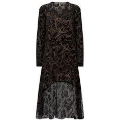 Lanvin Lace And Velvet Midi Dress (15.725 BRL) ❤ liked on Polyvore featuring dresses, lace midi dresses, slip dress, evening dresses, midi evening dresses and lace slip dress