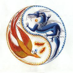 "Phoenix Dragon Yin Yang. ""When the dragon roars the mountains tremble, when the dragon whispers the wise listen"" Chinese Proverb. Could not trace the artsit"