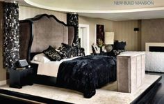 zomg! i love a couple of things in this picture:        the crazy velvet headboard      beautiful bedside ceiling chandelier thingy      raised platform      comfy velvet beddings