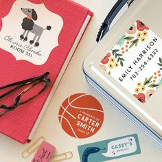 Personalized back to school bookplates, labels and notebooks all on sale at Minted