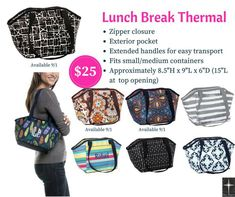 Lunch Break Thermal by Thirty-One Fall Great for carrying lunch for school, pool, sports, day trips & more! Pick from our beautiful and fun patterns! Thirty One Uses, Thirty One Fall, Thirty One Gifts, Thirty One Thermal, Thirty One Business, 31 Gifts, Cool Patterns, First Love, Fall 2018