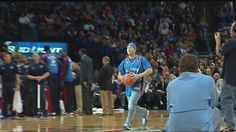 Brad Brucker wins $20,000 for hitting this half court shot at the Oklahoma City Thunder game.