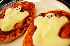 Ghoulish Ghostly Mini Pizzas Mini Pizzas, Pancakes, Smile, Breakfast, Food, Morning Coffee, Essen, Pancake, Meals