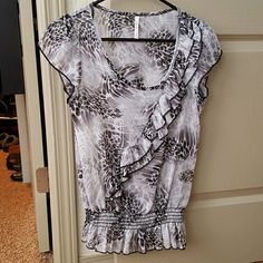 Sheer top Sheer top with ruffle across chest Rue 21 Tops Blouses