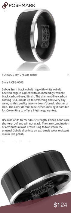 Black Cobalt men's wedding band ring Black Cobalt men's wedding band ring from Torque by CrownRing. Size 10. 9mm. NWT. CBB-0003 Torque Accessories Jewelry