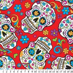 Skulls Día de Muertos Red Fleece Fabric