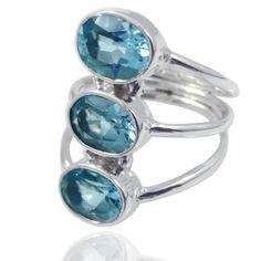 3 Row Blue topaz gemstone silver ring