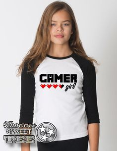 Gamer Girl, Girl's Gaming T-Shirt, Girl's Raglan T-shirt, Girl's Gaming Clothing, Video Games, Girl's Tees, Raglan for Girls by TennesseeSweetTee on Etsy