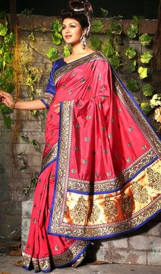 Fancy Fuchsia Embroidered Saree Price: Usa Dollar $138, British UK Pound £81, Euro102, Canada CA$150 , Indian Rs7452.