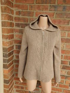 J CREW Hoodie Sweater Size M 100% Wool Cable Knit Zip Cardigan Hooded Top Beige #JCrew #Hooded