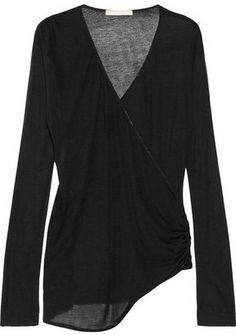 Kain Arabella modal and silk-blend jersey wrap-effect top.