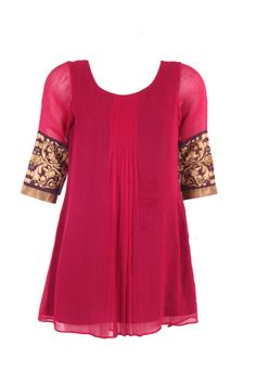 Pink Solid Kurti In poly georgette. So pretty and unusual for dressy western functions.