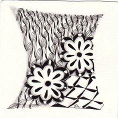 Ein Zentangle aus den Mustern Flaura, Znzu, Zazzy,  gezeichnet von Ela Rieger, CZT