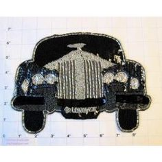 """Rolls Royce with Silver and Black Sequins and Beads 6.5"""" x 8.5"""""""