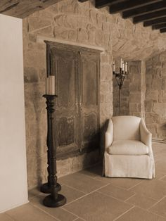 Michael G. Imber, Architects  Idea house entry.  Lovely recessed cupboard door into stone wall.