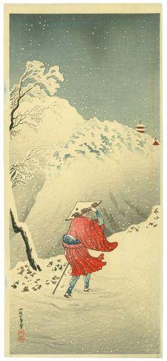 Shotei. Spring Evening Nichiren in the Snow on a Mountain Path