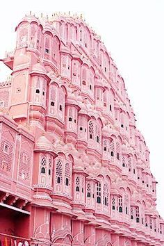 "Palace of the Winds in Jaipur, India. Nicknamed the ""pink city,"" Jaipur, the capital city of the desert state of Rajasthan, features architecture of pink sandstone – from grand structures and forts to tiny markets. Pretty In Pink, Pink Love, Beautiful Buildings, Beautiful Places, Modern Buildings, Jaipur India, Delhi India, Pink Houses, Everything Pink"