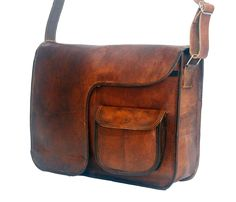 "Vintage Leather Messenger Bag 11"" x 15"" x 4"""