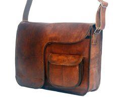 """Vintage Leather Messenger Bag 11"""" x 15"""" x 4"""" More"""