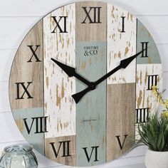 DIY Shabby Kitchen Decor Ideas FirsTime 27 in. Multi-Color Oversized Timberworks Wall Clock 31016 - The Home Depot FirsTime 27 in. Multi-Color Oversized Timberworks Wall Clock 31016 - The Home Depot Shabby Chic Rustique, Rustikalen Shabby Chic, Shabby Chic Kitchen, Shabby Chic Homes, Shabby Chic Furniture, Kitchen Decor, Furniture Vintage, Kitchen Dining, Shabby Chic Wall Clock