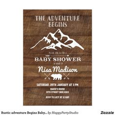 Rustic adventure Begins Baby Shower Invitation