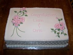Wedding Shower Sheet Cake - do the flowers and lettering in orange, nice and simple.
