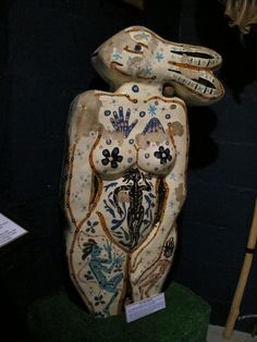 """""""The Hare-Woman"""" by Lionel Miskin from the collection of the Museum of Witchcraft and Magic in Boscastle, Cornwall. Miskin made the Hare Woman in the 1960s, while he was teaching at Falmouth School of Art. From the Bunny Girl to shape-shifting witches, animal totems and underworld """"spirit guides"""", she contains numerous references to the enduring power and symbolism of the hare (Photo by Scáthach)"""