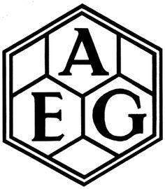 Photograph:Peter Behrens designed a logo for AEG (Allgemeine Elektricitats-Gesellschaft) in 1907.