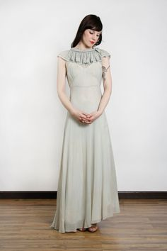 1930s Maxi Gown ICE BLUE Ruffle Dress by VeraVague
