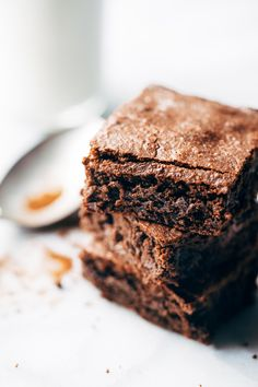 6 Ingredient Espresso Brownies - just eggs, sugar, butter, flour, cocoa, and espresso! @DeLalloFoods DeLalloEats AD | pinchofyum.com