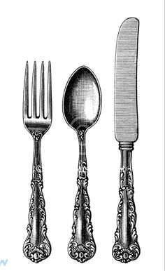 Vintage Kitchen vintage cutlery clipart, black and white clip art, old fashioned spoon fork knife image, antique silverware pattern illustration, kitchen printable Clip Art Vintage, Vintage Images, Style Shabby Chic, Etiquette Vintage, Graffiti Tattoo, Image Deco, Spoon Knife, Knife And Fork, Spoon Art