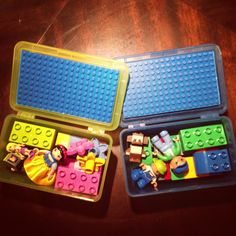 Travel Lego Boxes. I used IKEA boxes and thin Lego board that's primarily used for the smaller Legos. Tip #1: Duplo Legos fit the small Lego board. My kids will be able to use these for years to come!  Tip #2: small Legos fit on the Duplo Legos, when making the transition from Duplo to smaller Legos.