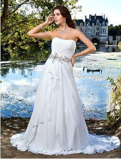 A-line Sweetheart Strapless Chiffon Wedding Dress - Wedding Dresses 2013 - Wedding Dresses - CDdress.com