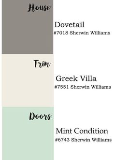 Exterior paint colors by Sherwin Williams: dovetail, Greek villa and mint condition. Rever trim and exterior colors. Exterior Color Schemes, Paint Color Schemes, Exterior Paint Colors For House, Interior Paint Colors, Paint Colors For Home, Exterior Design, Exterior Paint Ideas, Outside House Paint Colors, Stucco House Colors