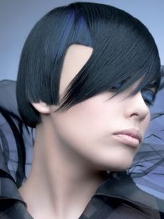 Blue, Black Asymmetric Bob Cut