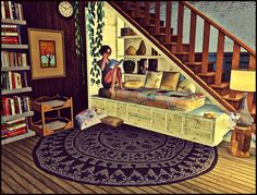 Cute and cozy interior by SimmySimSam for the Sims 3. I love the bed nook under the stairs.