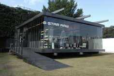 Tokyo design week: Denim brand G-Star Raw built a pavilion at Tokyo Designer's… Container Restaurant, Container Office, Container Shop, Container House Design, Container Architecture, Retail Architecture, Container Buildings, Coffee Shop Design, Cafe Design