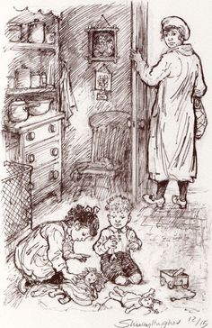 Shirley Hughes original drawing for The Christmas Ghost Magazine Illustration, Children's Book Illustration, Book Illustrations, Best Children Books, Childrens Books, Christmas Ghost, Christmas Eve, Shirley Hughes, Children Sketch