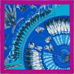 2015 S/S | Brazil II | Scarf in vintage silk twill (70 x 70 cm) | Ref. : H982603S 22 Fuchsia/Bleu Roy/Turquoise | £235.00