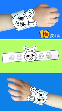 Bunny Paper Bracelet for Easter - Easy Arts And Crafts, Crafts For Kids To Make, Easter Crafts For Kids, Toddler Crafts, Art Activities For Kids, Easter Activities, Holiday Activities, Egg Crafts, Bunny Crafts