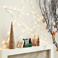 string lights placed as a star shape